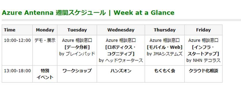 Azure Antenna 週間スケジュール